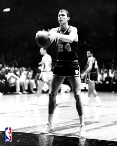 Rick Barry shoots a free throw